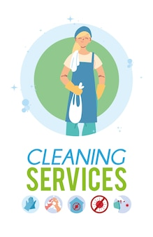Jeune femme travaillant dans le service de nettoyage desing illustration