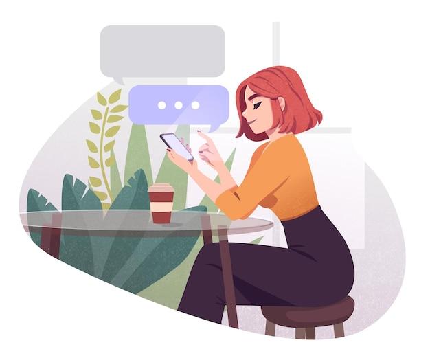 Jeune femme utilisant un smartphone travaillant et buvant du café au café en plein air girl browsing internet