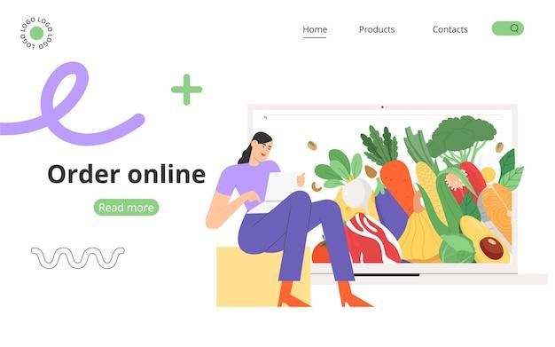 Une jeune femme utilise un site internet pour commander ou livrer