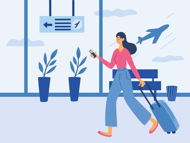 Jeune femme avec une valise à l'aéroport. terminal d'aéroport. le temps de voyager. femme avec une valise. loisirs et tourisme. voyage. illustration de dessin animé de vecteur