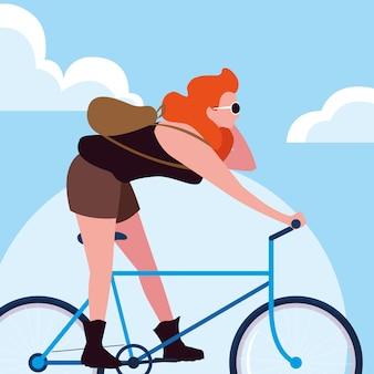 Jeune femme, vélo, ciel, nuages