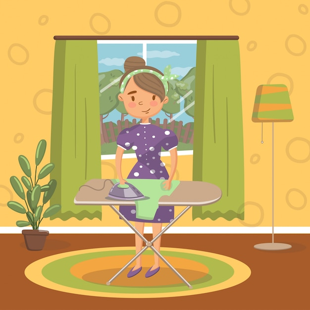 Jeune femme en vêtements décontractés, repasser les vêtements sur une planche à repasser dans le salon, intérieur de maison confortable vintage illustration