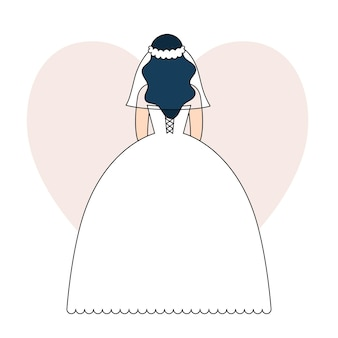 Jeune femme vêtue d'une robe de mariée blanche, la mariée se tient dos au mariage, célébration festive. illustration vectorielle dans le style de contour, doodle coloré.
