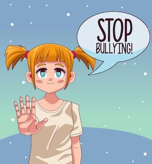 Jeune fille adolescente avec lettrage d'arrêt de l'intimidation dans la bulle de dialogue