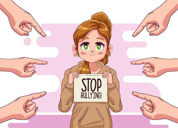 Jeune fille adolescente avec lettrage d'arrêt de l'intimidation et mains attaquant