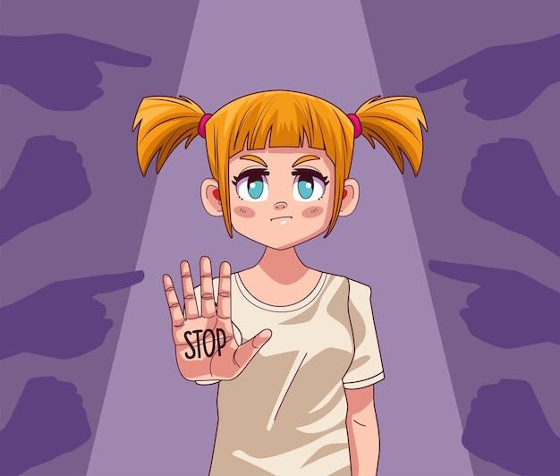 Jeune fille adolescente avec mot d'arrêt dans la main et les mains attaquant