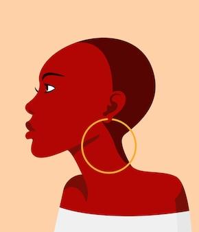 Jeune fille africaine de profil avec une coiffure chauve. avatar plat de vecteur pour le réseau social.