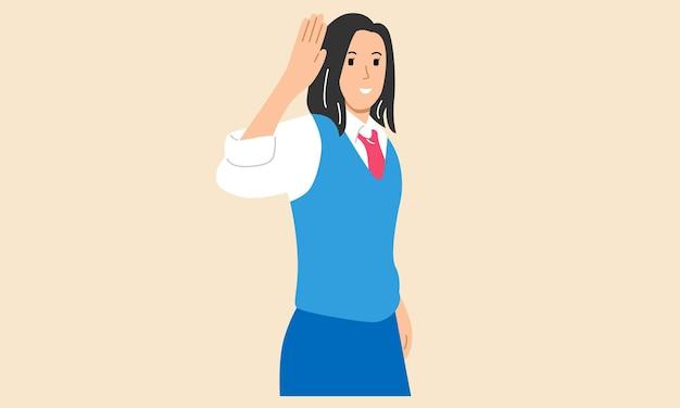 Jeune fille agitant la main pour saluer ou au revoir