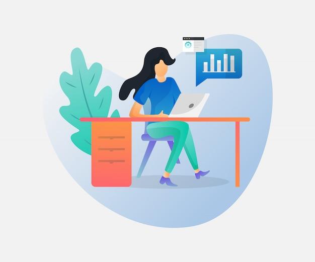 Jeune fille assise au bureau et travaillant sur un ordinateur portable en regardant l'écran.