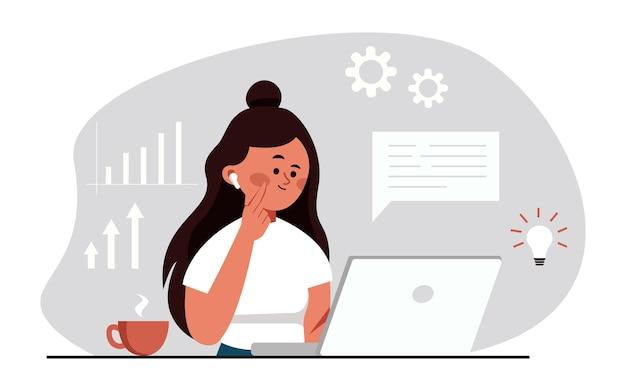 Jeune fille assise au bureau et travaillant sur un ordinateur portable en regardant une femme d'affaires à l'écran