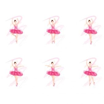 Jeune fille de ballerine dans différentes poses de danse de ballet.