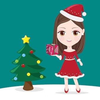 Jeune fille et coffret cadeau
