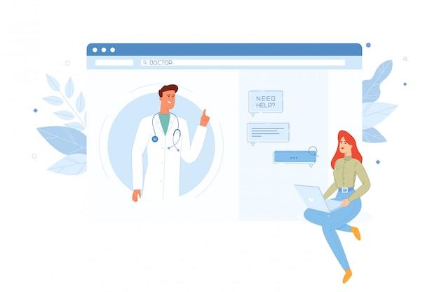 La jeune fille consulte un médecin en ligne via le chat sur un ordinateur.