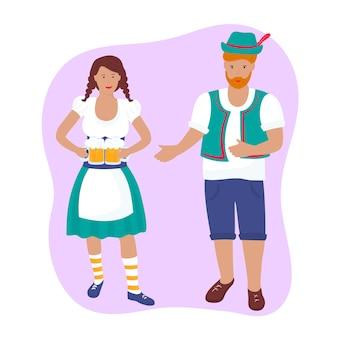 Jeune fille en costume traditionnel allemand avec des chopes à bière. un gars en short, un gilet et un chapeau avec une plume. oktoberfest.