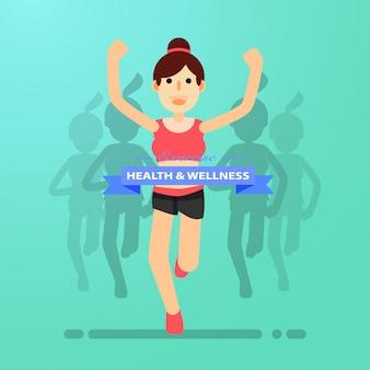 Jeune fille courir et s'entraîner au marathon