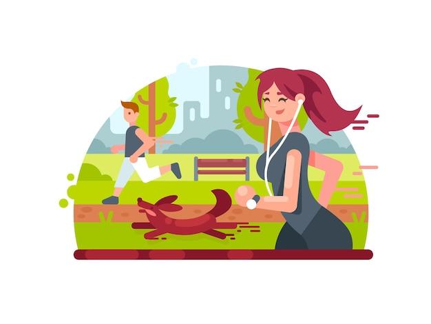 Jeune fille en cours d'exécution dans le parc avec un chien et portant des écouteurs. illustration vectorielle
