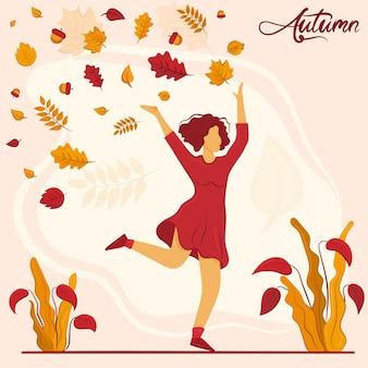 Jeune fille court et jette les feuilles d'automne concept d'humeur d'automne illustration vectorielle de cartoony