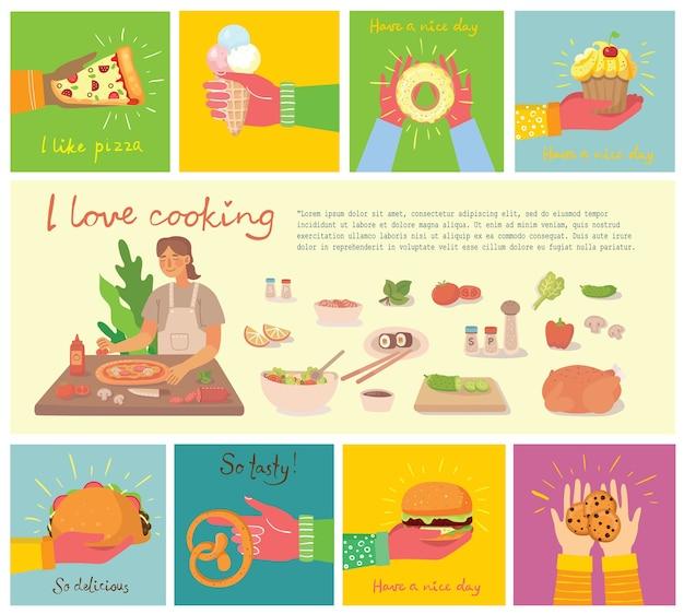 Jeune fille cuisine pizza dans la cuisine à la maison illustration dans un style design plat moderne