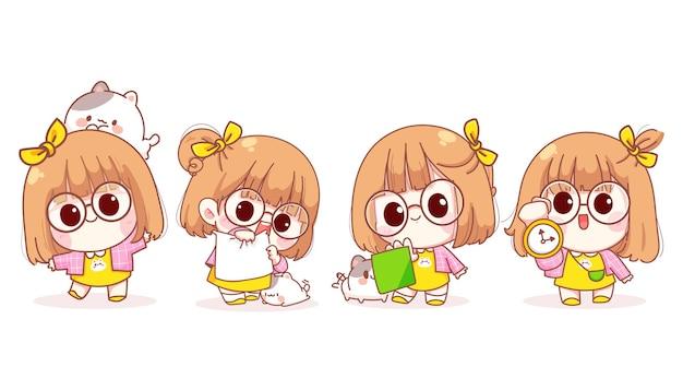 Jeune fille dans différents gestes tenant illustration de dessin animé de signe