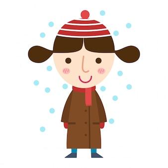 Jeune fille dans un vecteur de manteau