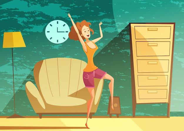 Jeune fille danse seule à la maison tard dans la soirée