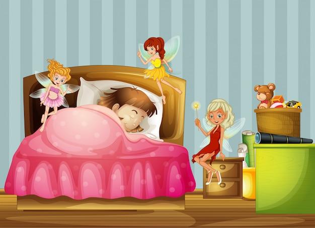 Une jeune fille dormant avec des fées dans sa chambre