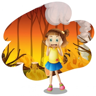 Une jeune fille effrayée par un incendie