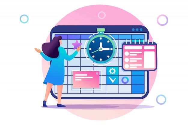 Jeune fille engagée dans la gestion du temps et la planification d'entreprise pendant un mois. caractère plat. concept pour la conception web