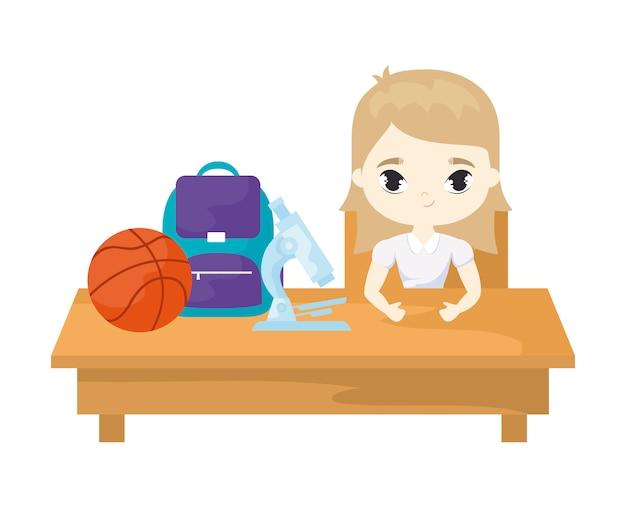 Jeune fille étudiante assise sur un banc d'école avec fournitures scolaires