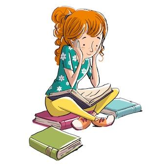 Jeune fille étudie entourée de livres