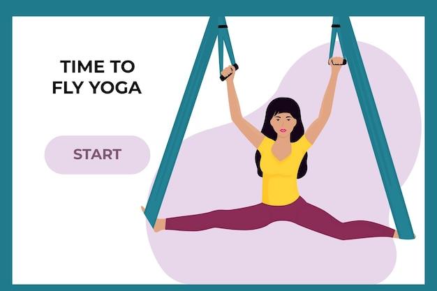 Jeune fille faisant du yoga à la mouche dans un hamac. femme faisant le grand écart. modèle de page de destination.