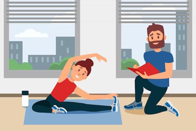 Jeune fille faisant de l'exercice assis sur le sol. coach écrit des notes dans le dossier. intérieur de salle de fitness avec de grandes fenêtres. design plat