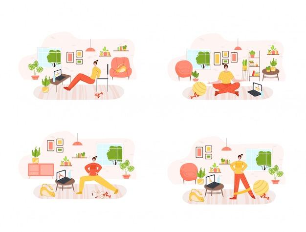 La jeune fille faisant des exercices sportifs à la maison avec un entraîneur par internet - concept de formation ou d'entraînement en ligne. fitness à domicile
