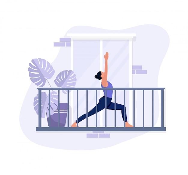 Une jeune fille fait des exercices sur le balcon, fait du yoga et se détend. style plat aux couleurs violettes. illustration sur un fond blanc isolé. sport et concept de mode de vie sain.