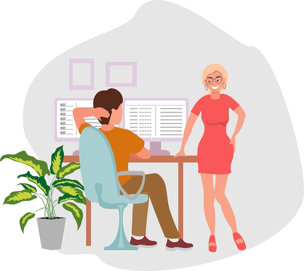 Jeune fille flirter avec un homme au bureau et le distraire de l'ordinateur