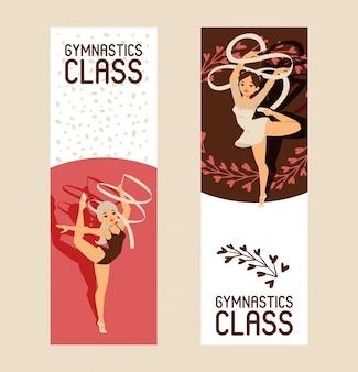 Jeune fille gymnaste exercice sport athlète illustration