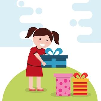 Jeune fille heureuse, tenant une boîte-cadeau lumineuse et de nombreux cadeaux en illustration vectorielle de plancher vecteur
