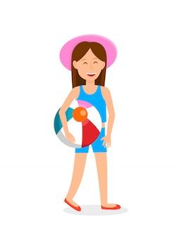 Jeune fille avec illustration vectorielle de ballon de plage.