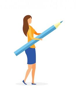 Jeune fille avec illustration vectorielle plane crayon