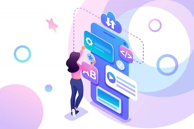 Une jeune fille isométrique est engagée dans la création d'une application mobile, une adolescente travaillant sur l'écran du téléphone.