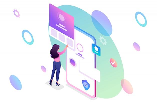 Jeune fille isométrique avec téléphone portable, remplissant le profil du compte mobile.