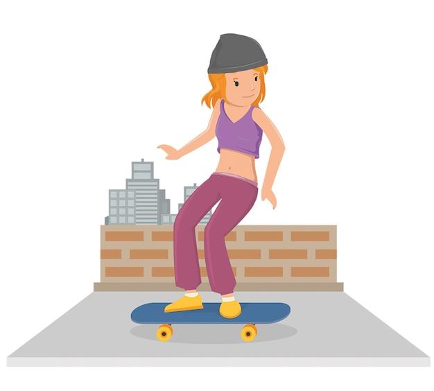 Jeune fille jouant la planche à roulettes dans un style vecteur plat