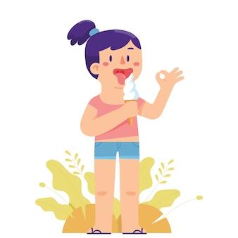 Jeune fille lèche un cône de glace dans la chaleur de l'été