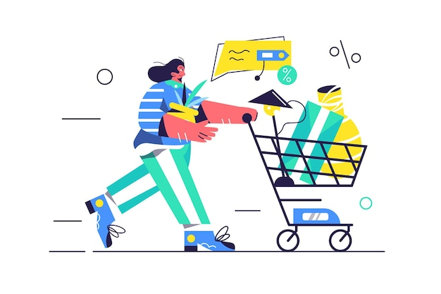 Jeune fille marche avec un chariot et achète des produits dans les magasins, panier avec des produits, lampe, cadeaux isolé sur fond blanc,