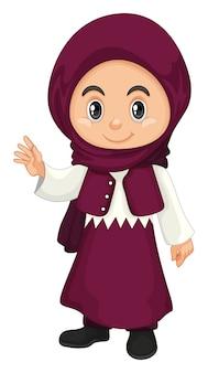 Jeune fille musulmane en costume violet