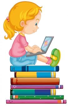 Jeune fille sur ordinateur portable