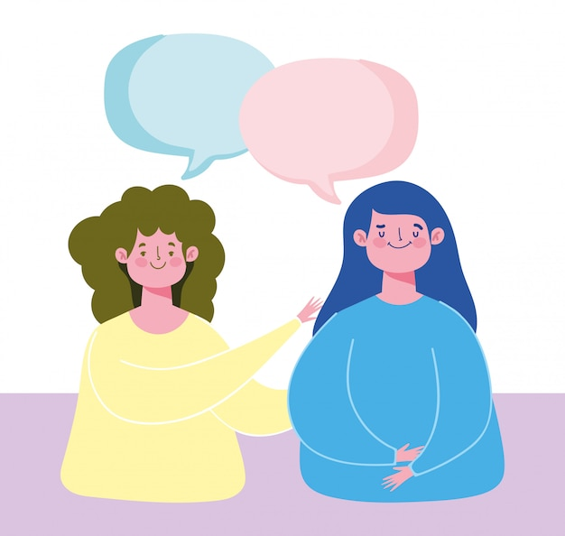 Jeune fille parlant des personnages de bulles illustration de dessin animé