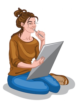 Jeune fille de peintre en pull marron et jean bleu pensant à l'idée de dessin