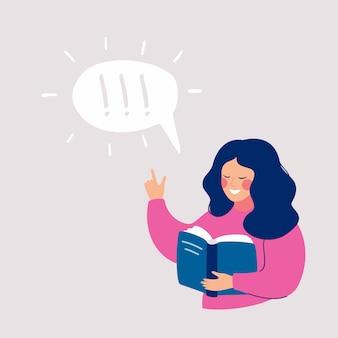Jeune fille pensant à cela qu'elle lisait dans le livre et l'idée lui vint.