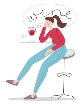 La jeune fille a pensé à la bouteille de vin. dégustation du vin.